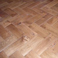 Herringbone parquetry pattern, in rustic grade French oak